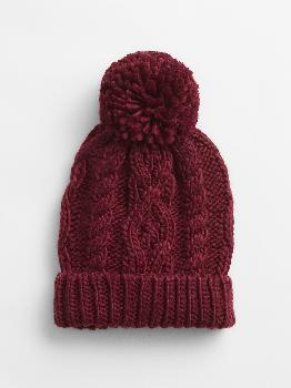 Cable-Knit Pom Beanie Gap Factory