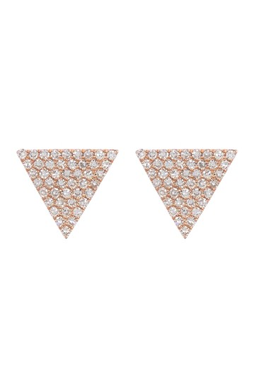 14K Rose Gold Pave Diamond Triangle Stud Earrings - 0.24 ctw Ron Hami