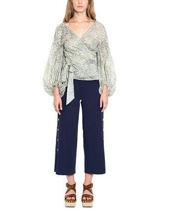 Side-Snap High-Waist Cropped Belted Pants Michael Kors