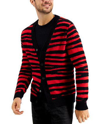 INC Men's Fuzzy Striped Cardigan, Created for Macy's INC International Concepts