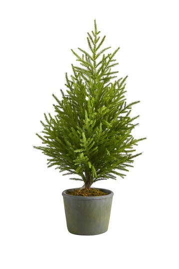 3ft. Norfolk Island Pine    Natural Look    Artificial Tree in Decorative Planter NEARLY NATURAL
