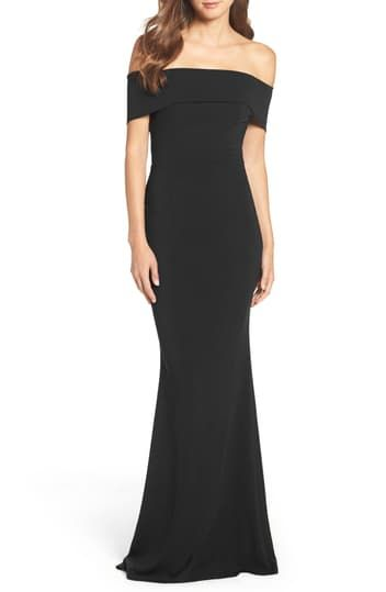 Off the Shoulder Crepe Gown KATIE MAY