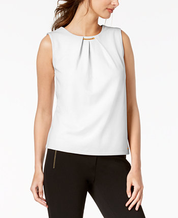Embellished Pleated Sleeveless Top Calvin Klein
