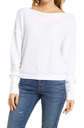 Off the Shoulder Thermal Knit Sweater Treasure & Bond