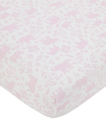 Sweet Floral Elephants Super Soft Fitted Crib Sheet Carters