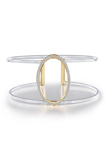 Milano Platinum & Gold Plated Sterling Silver Pave Simulated Diamond Oval Open Cuff Bracelet LaFonn