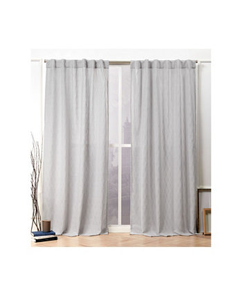 """Tangled Ogee Embroidered Sheer Hidden Tab Top Curtain Panel Pair, 54"""" X 96"""" Nicole Miller"""