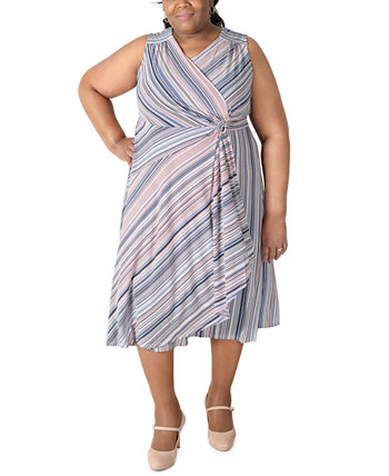 Plus Size Striped Gathered-Waist Dress Robbie Bee