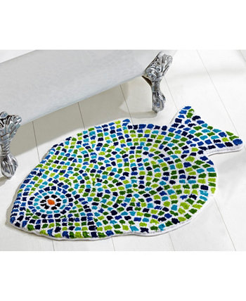 """Fish Mosaic Tufted Cotton Rug 24"""" x 36"""" Better Trends"""