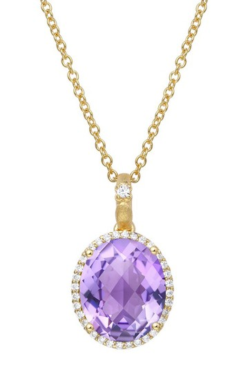 Gold Plated Sterling Silver Oval Shaped Simulated Diamond Pendant Chain Necklace LaFonn