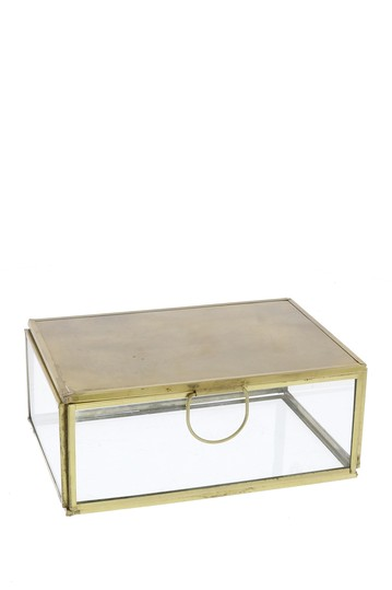 Monroe Small Jewelry Box with Mirror - Brass HOMART