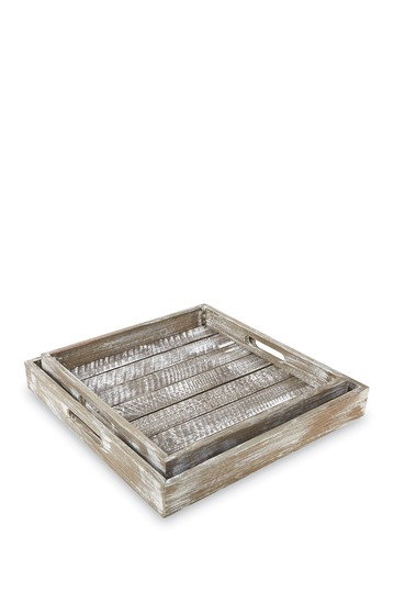 Brown Nested Barnwood Slatted Trays 2-Piece Set Mud Pie