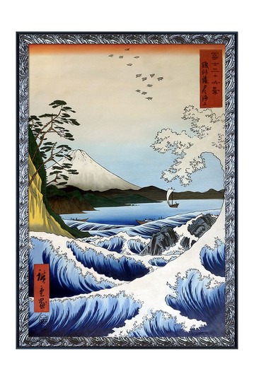 """Art The Sea at Satta, Suruga Province, from Thirty-six Views of Mount Fuji with Ornate Silver and Black Custom Stacked Frame, 27.5"""" x 39.5"""" No brands"""