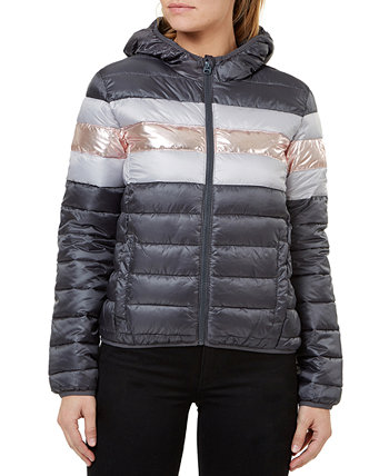 Quilted Hooded Metallic-Stripe Packable Jacket Numero