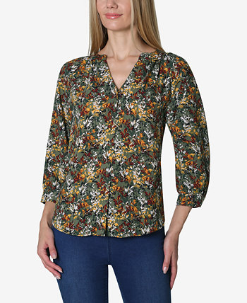 3/4 Sleeve Solid Shirred Neck Button Front Blouse Adrienne Vittadini