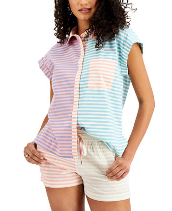 Petite Colorblocked Striped Top, Created for Macy's Style & Co