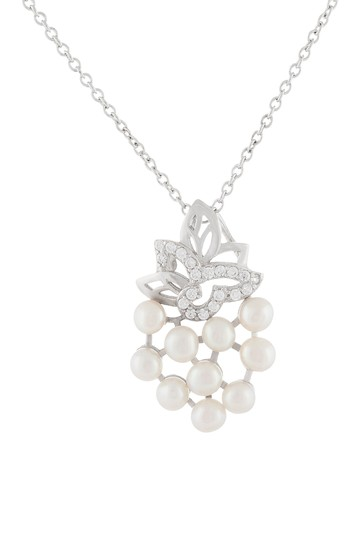 Sterling Silver 3-4mm Freshwater Micropearl & CZ Cluster Pendant Necklace Splendid Pearls