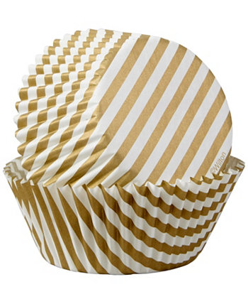 Gold Stripes Cupcake Liners, 50-Count Wilton
