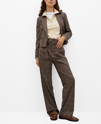 Women's Check Crop Blazer MANGO