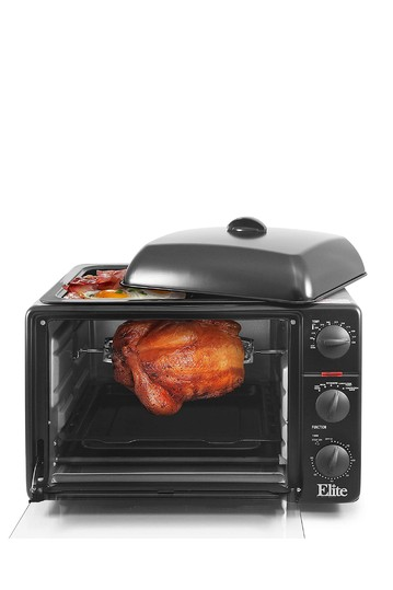 Elite Platinum 0.8Cu. Ft. Multi-Function Toaster Oven with Rotisserie, Convection & Oven Top Grill/Griddle - Black MAXI-MATIC