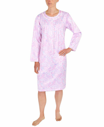 Brushed-Back Satin Printed Nightgown Miss Elaine