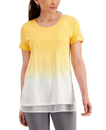 Petite Dip-Dyed Layered T-Shirt, Created for Macy's J&M Collection