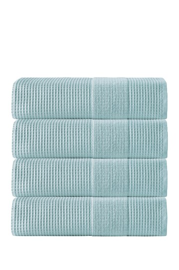 Ria Turkish Cotton Bath Towel - Aqua - Set of 4 Enchante Home