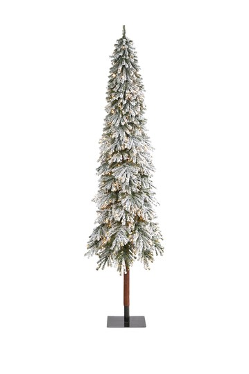 9ft. Flocked Grand Alpine Artificial Christmas Tree with 600 Clear Lights on Natural Trunk NEARLY NATURAL