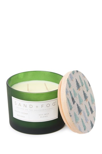 12oz. Green Trees White Cedar Balsam Candle SAND AND FOG