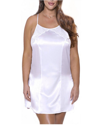 Women's Ultra Soft Halter Satin Chemise with Crisscross Straps ICollection