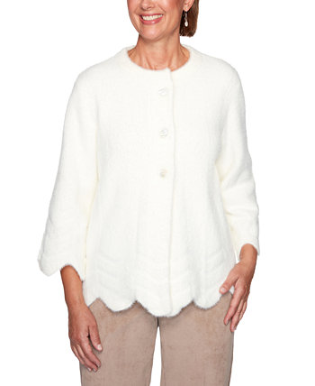 Petite Dover Cliffs Feather-Yarn Jacket Alfred Dunner