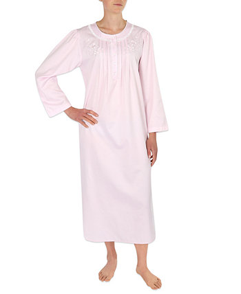 Petite Embroidered Brushed-Back Long Satin Nightgown Miss Elaine