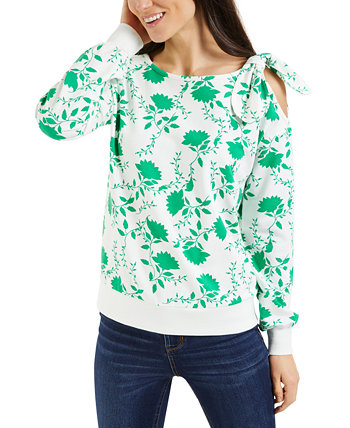 Petite Floral-Print Cold-Shoulder Top, Created for Macy's Charter Club