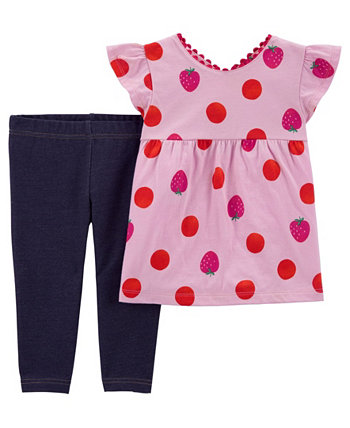 Toddler Girls Strawberry Top and Knit Denim Short Set, 2 Piece Carters