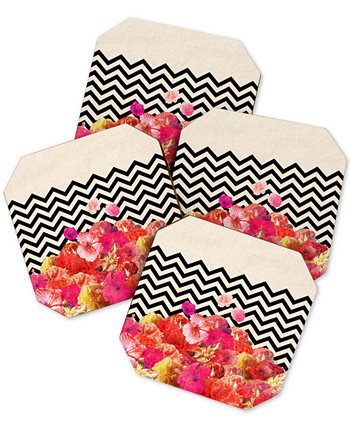 Bianca Green Chevron Flora Coaster Set Deny Designs