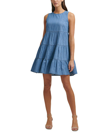 Tiered Chambray Shift Dress Tommy Hilfiger