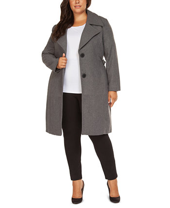 Plus Size Belted Coat Black Tape