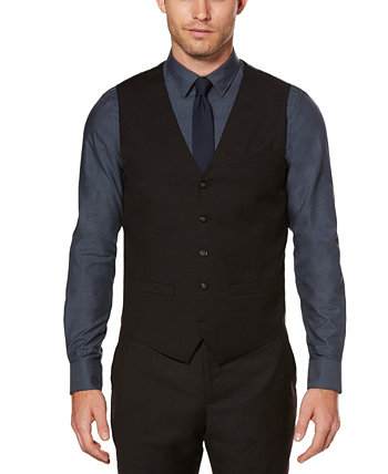 Men's Big and Tall Solid Sharkskin Suit Vest Perry Ellis