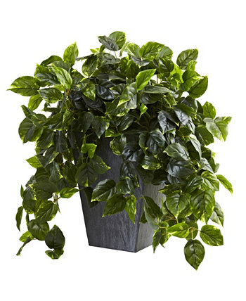 Hanging Pothos w/ Slate Planter UV Resistant NEARLY NATURAL