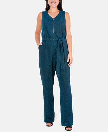 Petite Glitter Zip-Front Belted Jumpsuit NY Collection