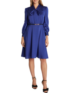 Long Sleeve Hammered Satin Tie Neck Belted Dress Tahari by ASL