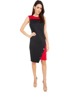 Scuba Asymmetrical Hem Sheath Dress w/ Snaps Tommy Hilfiger