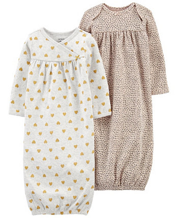 Carters Baby Girl 2-Pack Sleeper Gowns Carters