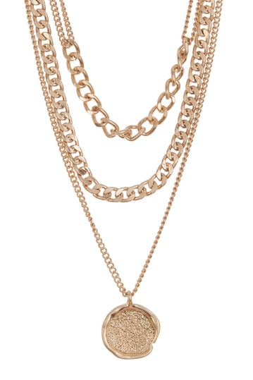 3 Row Chain Link Coin Necklace AREA STARS