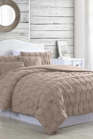 Modern Threads 5-Piece Textured Comforter Set - Harper Taupe - Queen Modern Threads