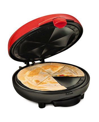 Taco Tuesday TTEQM8RD Deluxe 6-Wedge Electric Quesadilla Maker with Extra Stuffing Latch Nostalgia