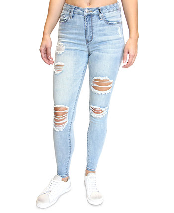 Juniors' High-Rise Destructed Skinny Jeans Almost Famous