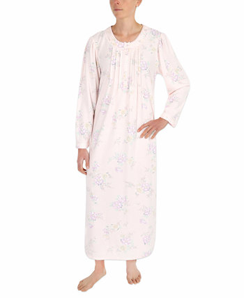 Printed Honeycomb Pointelle Knit Long Nightgown Miss Elaine