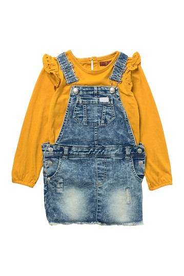 Denim Overall & Ruffle Top 2-Piece Set (Toddler Girls) 7 For All Mankind