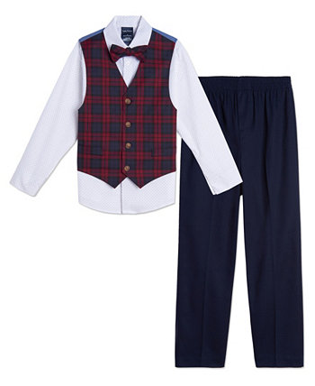 Toddler Boys Plaid 4 Piece Vest Set Nautica